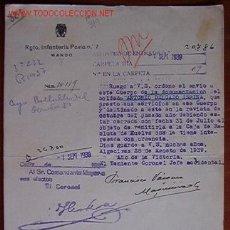 Documents Anciens: DOCUMENTO REGIMIENTO DE PAVÍA Nº 7, MANDO, 1939. Lote 7343593