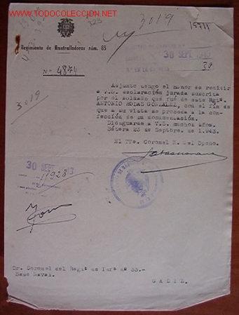 DOCUMENTO REGIMIENTO DE AMETRALLADORAS Nº83, 1943 (Coleccionismo - Documentos - Otros documentos)