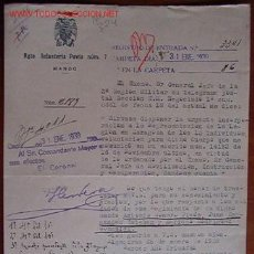 Documents Anciens: DOCUMENTO INFANTERÍA DE PAVÍA Nº7, MANDO, 1939. Lote 5688942