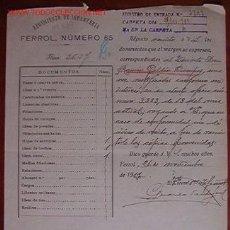 Documentos antiguos: DOCUMENTO REGIMIENTO DE INFANTERIA FERROL, Nº65, 1919. Lote 4079489