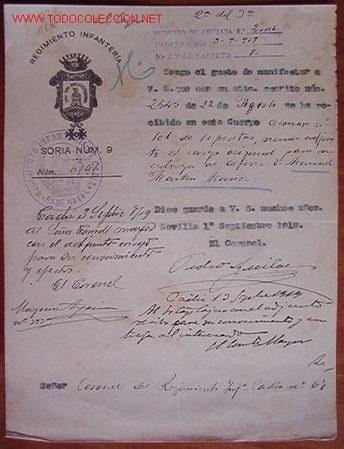 DOCUMENTO REGIMIENTO INFANTERÍA SORIA, Nº 9, 1919 (Coleccionismo - Documentos - Otros documentos)