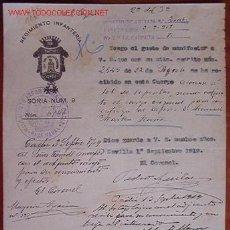 Documentos antiguos: DOCUMENTO REGIMIENTO INFANTERÍA SORIA, Nº 9, 1919. Lote 4467322