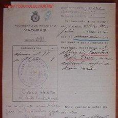 Documentos antiguos: DOCUMENTO REGIMIENTO DE INFANTERÍA, VAD-RÁS, 1919. Lote 4087166
