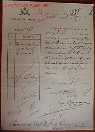 DOCUMENTO REGIMIENTO INFANTERÍA DE SÓRIA, Nº9, 1937 (Coleccionismo - Documentos - Otros documentos)