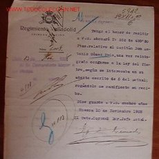 Documentos antiguos: DOCUMENTO 74 REGIMIENTO VALLADOLID, 1ª OFICINA, 1928. Lote 7093348
