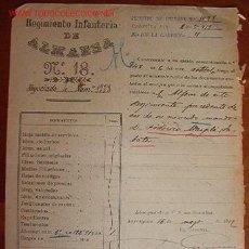 Documentos antiguos: DOCUMENTO REGIMIENTO INFANTERÍA DE ALMANSA Nº18, 1919. Lote 16463755