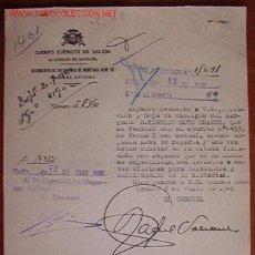 Documentos antiguos: DOCUMENTO CUERPO EJÉRCITO DE GALICIA, 82 DIVISIÓN DE MONTAÑA. REGIMIENTO DE INFANTERÍA DE MONTAÑA . Lote 7619356