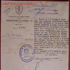 Documentos antiguos: DOCUMENTO DIVISIÓN DE CABALLERÍA, REGIMIENTO Nº4, MANDO, 1943. Lote 4275317