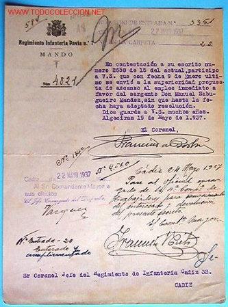 DOCUMENTO DEL REGIMIENTO DE INFANTERIA PAVÍA Nº7, MANDO, 1937. (Coleccionismo - Documentos - Otros documentos)