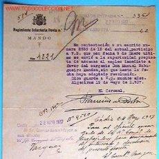 Documentos antiguos: DOCUMENTO DEL REGIMIENTO DE INFANTERIA PAVÍA Nº7, MANDO, 1937.. Lote 5276635