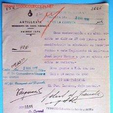 Documentos antiguos: DOCUMENTO ARTILLERIA REGIMIENTO DE COSTA Nº1 PRIMER JEFE 1938 . Lote 5295599