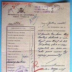 Documentos antiguos: DOCUMENTO REGIMIENTO DE INFANTERÍA, FERROL Nº65, 1925. Lote 6053450