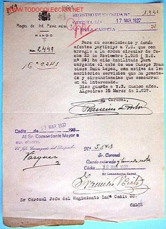 DOCUMENTO REGIMIENTO DE INFANTERÍA, PAVÍA Nº7, 1937 (Coleccionismo - Documentos - Otros documentos)