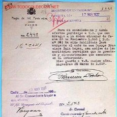 Documentos antiguos: DOCUMENTO REGIMIENTO DE INFANTERÍA, PAVÍA Nº7, 1937. Lote 8812440