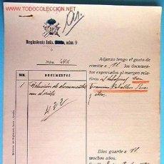 Documentos antiguos: DOCUMENTO REGIMIENTO DE INFANTERÍA Nº9, 1921. Lote 6219953
