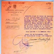 Documentos antiguos: DOC. REGIMIENTO DE ARTILLERIA DIVISIONARIO. Lote 6250305