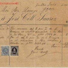Documentos antiguos: RECIBI DE JOSE COLL SUAREZ,1898.JEREZ. Lote 666067