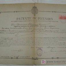 Documentos antiguos: RARA PATENTE DE INVENCION ,RAMO TEXTIL DE 19O9. Lote 20422325
