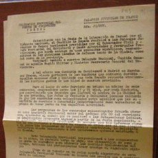 Documentos antiguos: DOCUMENTO DE 2 HOJAS DE LAS FALANGES JUVENILES DE FRANCO, TERUEL, 1953. Lote 3148761