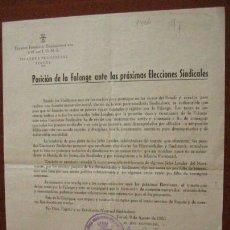 Documentos antiguos: DOCUMENTO, POSICION DE LA FALANGE ANTE LAS PROXIMAS ELECCIONES SINDICALES, 1950. Lote 3148779