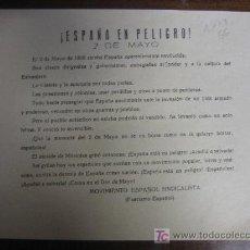 Documentos antiguos: HOJA TAMAÑO CUARTILLA DEL MOVIMIENTO ESPAÑOL SINDICALISTA, FECHA POR TERMINAR. Lote 3189138