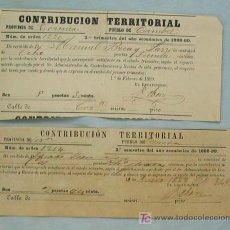 Documentos antiguos: RECIBOS CONTRIBUCIÓN. SIGLO XIX. CORUÑA. Lote 3204414