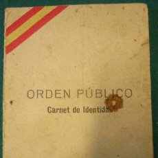 Documentos antiguos: CARNET DE IDENTIDAD, ORDEN PÚBLICO, MARZO DE 193_ CON ESTAMPADO REPUBLICANO. Lote 3221478