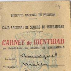Documentos antiguos: CARNET DE IDENTIDAD DEL SEGURO DE ENFERMEDAD. INSTITUTO NACIONAL DE PREVISIÓN. 1945 . Lote 3975790
