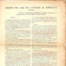Documentos antiguos: ORDEN DEL DIA DEL FUHRER AL EJERCITO 31-12-1941 Y PROCLAMA DEL FUHRER CON MOTIVO DEL AÑO NUEVO . Lote 21913069