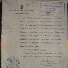 Documento tamaño cuartilla, Consell d'agricultura, 1937