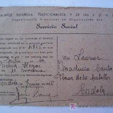 Documentos antiguos: AVISO DE COMIENZO DEL SERVICIO SOCIAL DE LA FALANGE , 1946 (CORDOBA). Lote 20212302