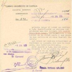 Documentos antiguos: ESCRITO MILITAR. CUERPO DE EJÉRCITO DE CASTILLA. CUARTEL GENERAL. GOBERNADOR. 1939. . Lote 4633389