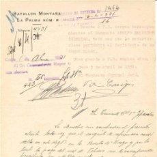 Documentos antiguos: ESCRITO MILITAR. BATALLÓN DE MONTAÑA LA PALMA Nº 8. 1931 . Lote 4633462