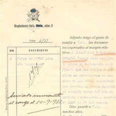 Documentos antiguos: ESCRITO MILITAR. REGIMIENTO DE INFANTERÍA SORIA Nº 9. 1931 . Lote 4977955