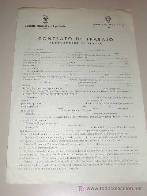 Contrato de trabajo productores de teatro del comprar for Contrato documento