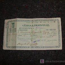 Documentos antiguos: CEDULA PERSONAL 1939. Lote 8932303