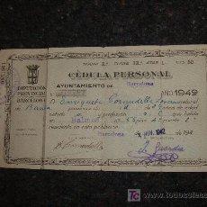 Documentos antiguos: CEDULA PERSONAL 1942. Lote 8932305