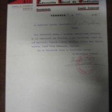 Documentos antiguos: DOCUMENTO TAMAÑO FOLIO CNT-AIT, TARREGA 1938. Lote 5082723