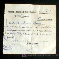 Documentos antiguos: RECIBO HERMANDAD SINDICAL DE LABRADORES Y GANADEROS. BADAJOZ AÑOS 50. ENVIO GRATIS¡¡¡. Lote 5629051