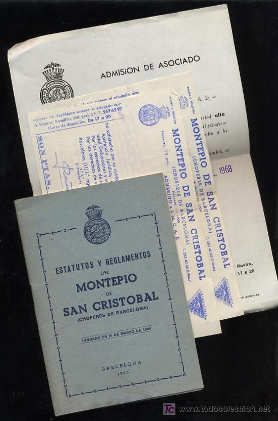 MONTEPIO SAN CRISTOBAL .ESTATUTOS Y REGLAMENTOS -HOJA ADMISIÓN-2 RECIBOS AÑO 1968 (Coleccionismo - Documentos - Otros documentos)