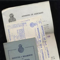 Documentos antiguos: MONTEPIO SAN CRISTOBAL .ESTATUTOS Y REGLAMENTOS -HOJA ADMISIÓN-2 RECIBOS AÑO 1968. Lote 5701616