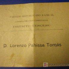 Documentos antiguos: PAPELETA, PARTIDO REPUBLICANO RADICAL. Lote 6072556