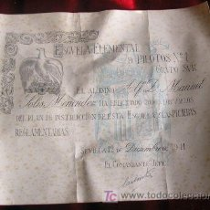 Documentos antiguos: DECORATIVO DIPLOMA DE LA ESCUELA DE PILOTOS. FECHADO EN 1941. ROCT07.54. Lote 10832538