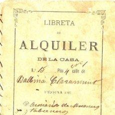 Documentos antiguos: LIBRETA DE ALQUILER *AÑO 1800* BARCELONA. Lote 21343393