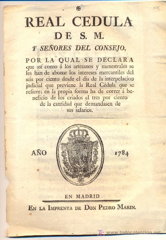 Real cedula a o 1789 sobre intereses mercanti comprar for Cedula de habitabilidad precio