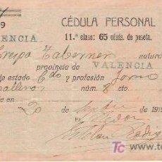 Documentos antiguos: CÉDULA PERSONAL – 1919 - RIOLA ( VALENCIA). Lote 24348803