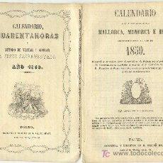 Documentos antiguos: CALENDARIO PARA MALLORCA, MENORCA E IBIZA DEL AÑO 1859. IMPRENTA GUASP PALMA.. Lote 23233787