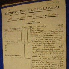 Documentos antiguos: INCORPORACIÓN A FILAS, REGIMIENTO PROVINCIAL DE LA PALMA, 1929. Lote 6941161