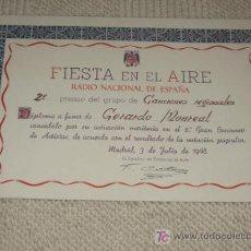 Documentos antiguos: DIPLOMA DEL CONCURSO DE RADIO NACIONAL DE ESPAÑA FIESTA EN EL AIRE 1948 AL TENOR GERARDO MONREAL. Lote 22391287