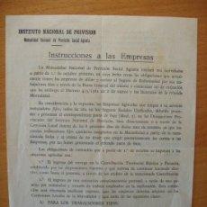 Documentos antiguos: FOLLETO INSTITUTO NACIONAL DE PREVISION MUTUALIDAD NACIONAL PREVISION SOCIAL AGRARIA 1961. Lote 7374061